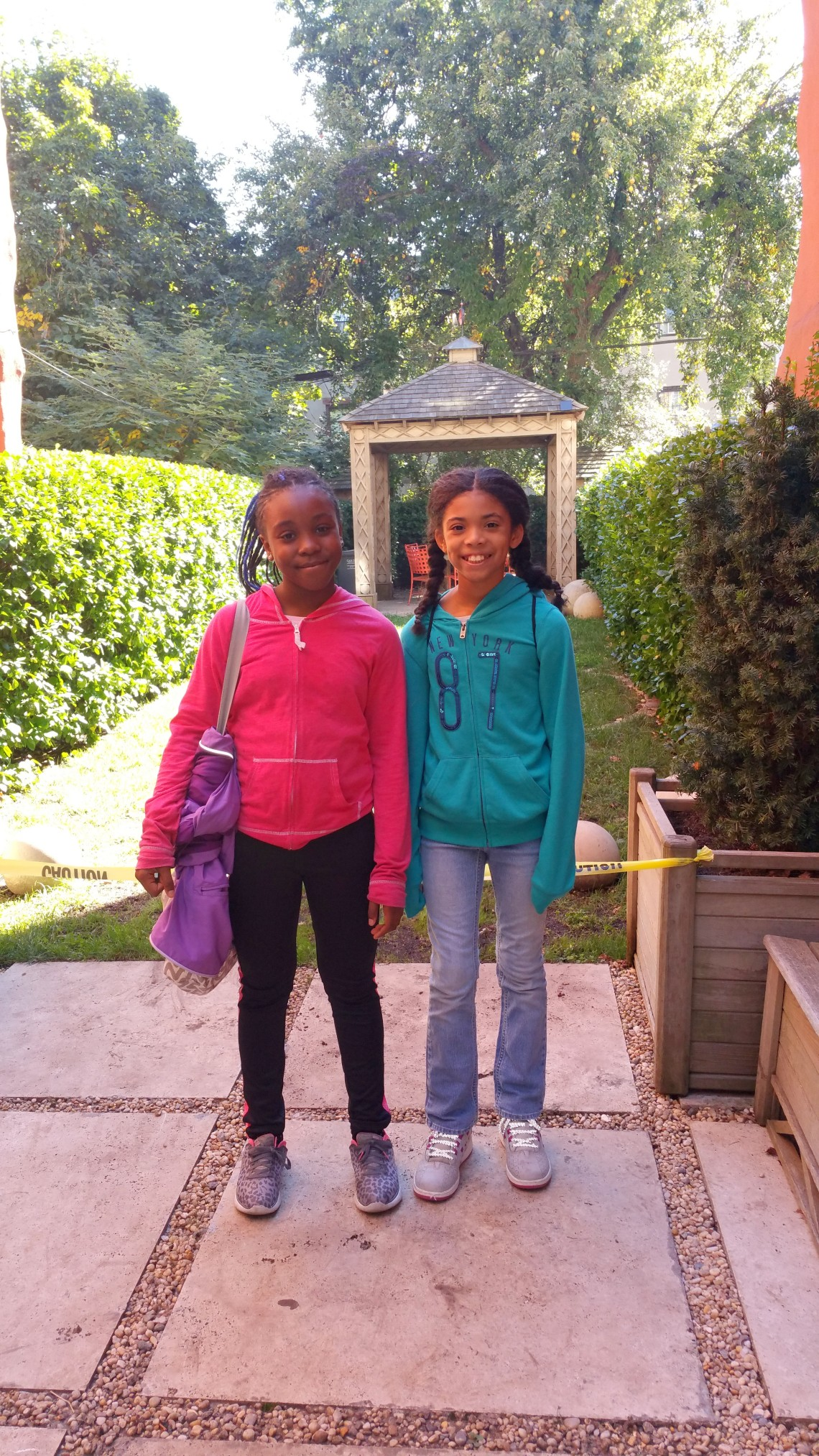 RoboRebels Team Members Amia and Kalola at Garden of Hope, Bklyn
