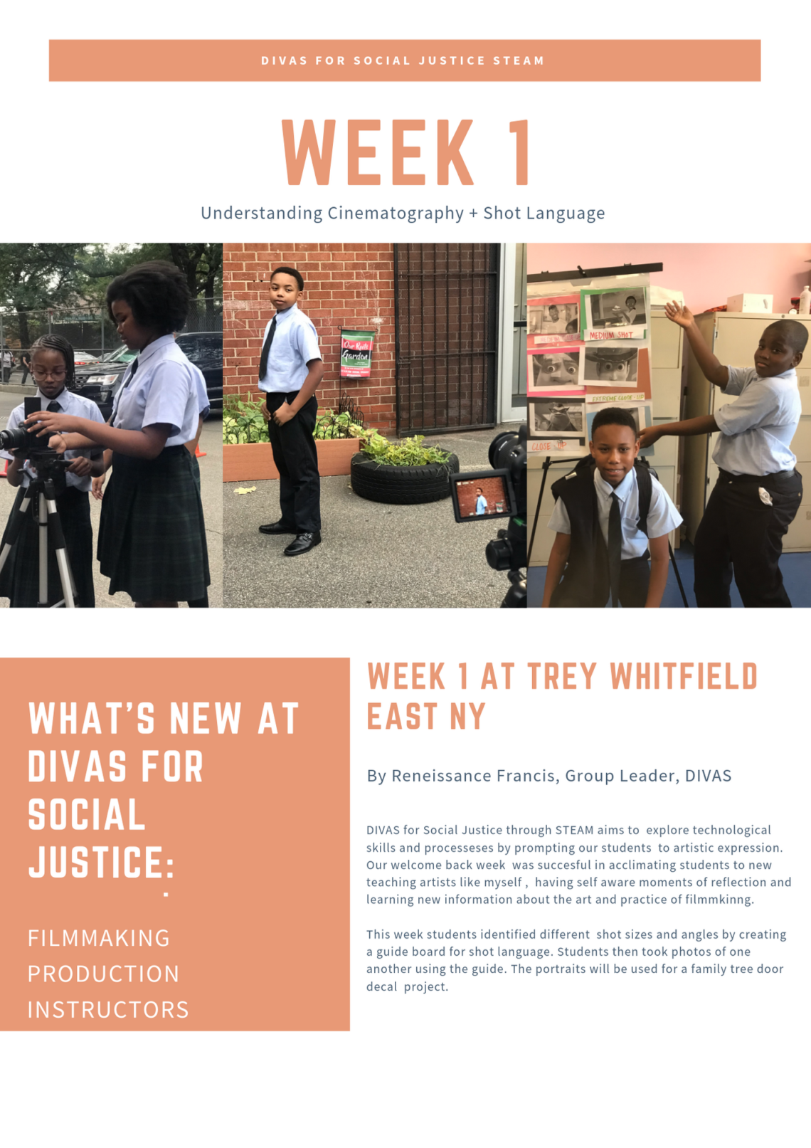 DIVAS for social justice aims to explore STEM through arts, sciences, and mathematics. We incorporate it into our lesson plans, our engaging icebreaker exercises and  conversations with the bright young faces of East New York's Trey Whitfield School.
